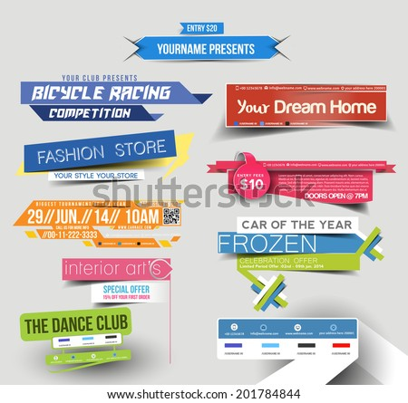 Collection of Sale Discount Styled Website Banner - stock vector