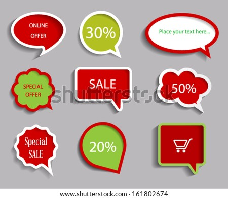Collection of sale discount tags. Vector EPS10.  - stock vector
