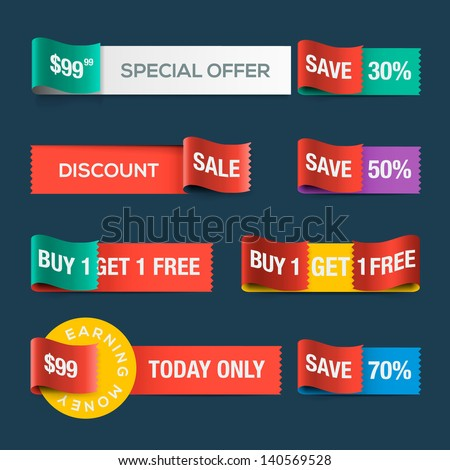 Collection of sale discount website ribbons, vector illustration.  - stock vector
