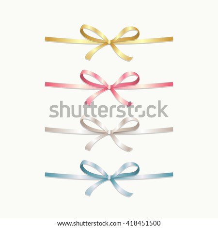 Collection of satin bows. Various colors of ribbons: golden, pink, silver, blue. Vector Eps10. - stock vector