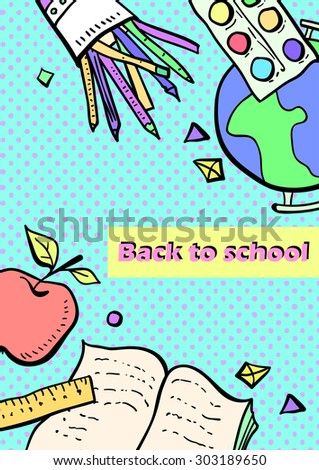 Collection of school subjects. Cartoon, colorful objects. - stock vector