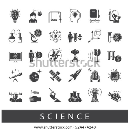 Collection of scientific icons. Icons of science, ideas, physics, chemistry, astronomy and genetic engineering.
