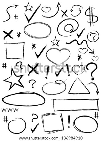 collection of scribble design element - stock vector