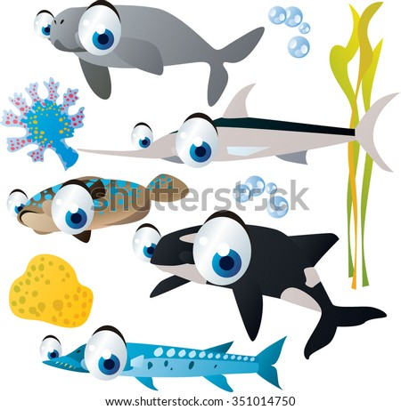 collection of sea animals. USeful for fish labels, apps or books illustration, isolated on white. Dugong, swordfish, flounder, orca, barracuda - stock vector