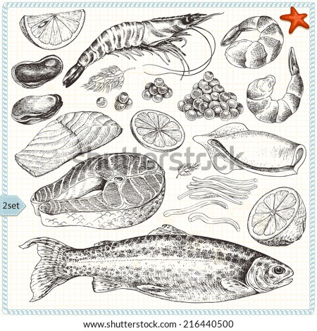 Collection of seafood, hand-drawn illustration in vintage style, set 2. - stock vector