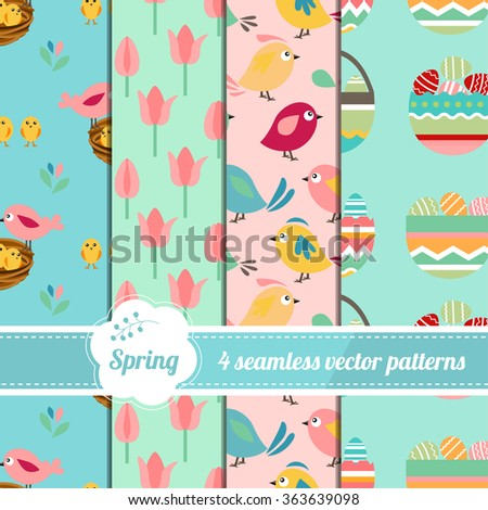 Collection of seamless easter patterns with stylized cute birds, eggs and tulips. Endless texture for your design, announcements, greeting cards, posters, advertisement.