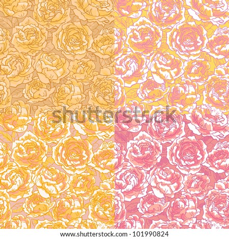 Collection of seamless floral pattern with hand-drawn pink roses - stock vector