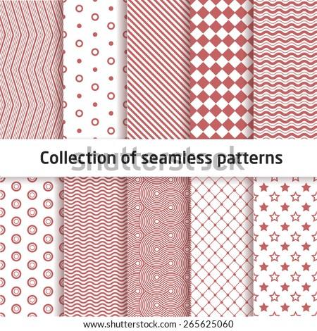 Collection of seamless geometric patterns  - stock vector