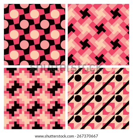 Collection of seamless geometric patterns.