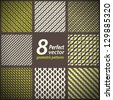 Collection of 8 seamless geometric patterns. Vector set. - stock vector
