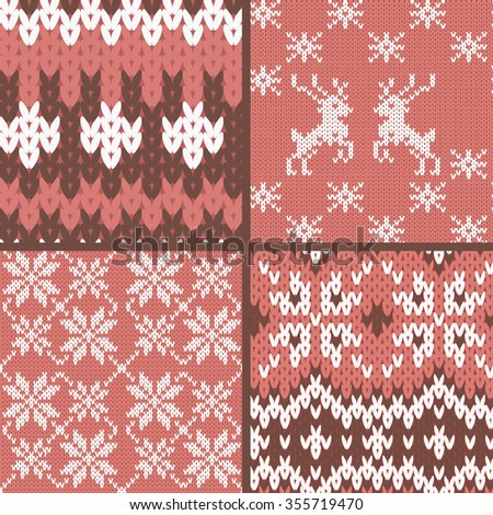 Collection of seamless knitted patterns. - stock vector
