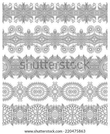 collection of seamless ornamental floral stripes, black and white collection. Vector illustration