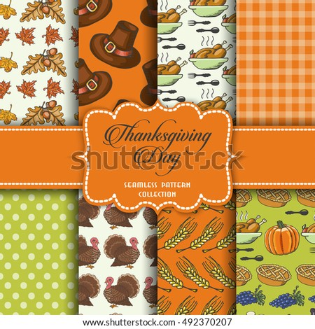 Collection of seamless patterns for the Thanksgiving Day. Vector illustration for your design