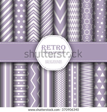 Collection of seamless patterns for wallpapers, pattern fills, web backgrounds, birthday and wedding cards. - stock vector
