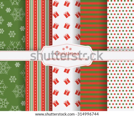 Collection of seamless patterns in the traditional holiday colors: red, green and white. Vector seamless patterns for christmas cards and gift wrapping paper. Merry Christmas and Happy New Year! - stock vector