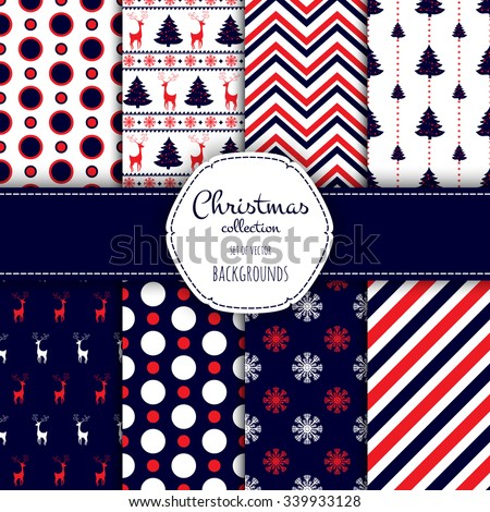 Collection of seamless patterns. Merry Christmas and Happy New Year! Set of seamless backgrounds with traditional symbols:  snowflakes, pine tree, deer and suitable abstract patterns.  - stock vector