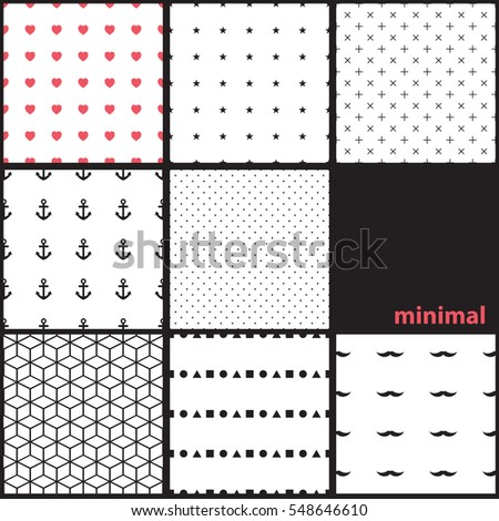 Collection of seamless patterns. Minimal.