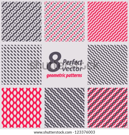 Collection of 8 seamless patterns. Vector set.