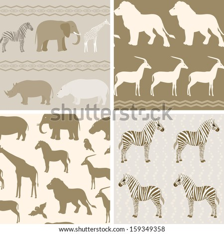 Collection of seamless patterns with african animals - stock vector