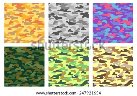 Collection of seamless patterns with camouflage. Different colors. - stock vector