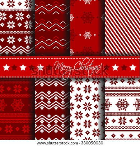 Collection of seamless patterns with red and white colors. Merry Christmas and Happy New Year set of winter holiday backgrounds. Vector illustration. Vector seamless pattern