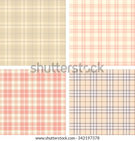 Collection of seamless plaid patterns - stock vector