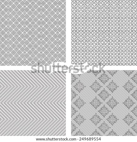 collection of seamless tweed pattern in grey and white - stock vector