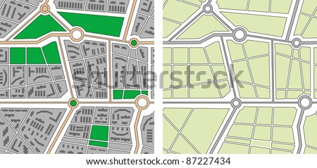 Collection of seamless vector patterns - city map - stock vector