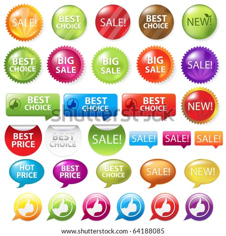 Collection Of Selling Badges, Isolated On White Background, Vector Illustration - stock vector
