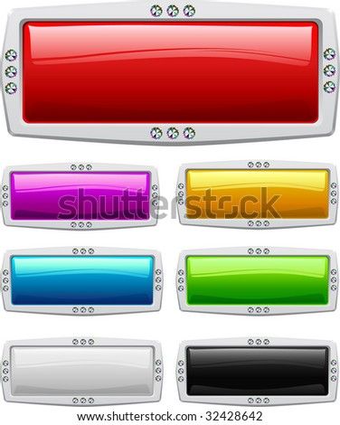 Collection of seven glossy buttons in various colors
