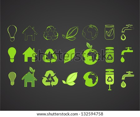 Collection of several ecological icons. Vector design. - stock vector