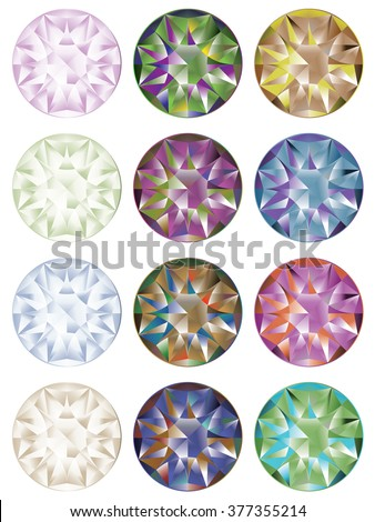 Collection of shiny diamonds in different colors.