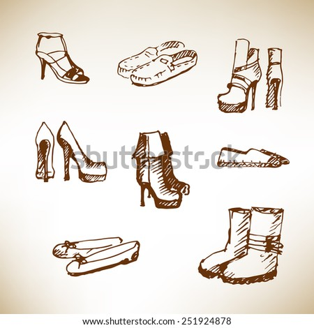 Collection of shoes. Hand drawn illustration on brown paper.  - stock vector