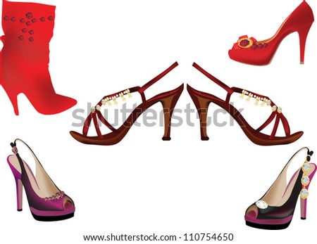 collection of shoes isolated on white background