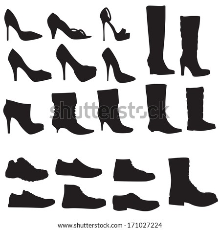 Collection of shoes silhouettes isolated on white background (Vector illustration) - stock vector