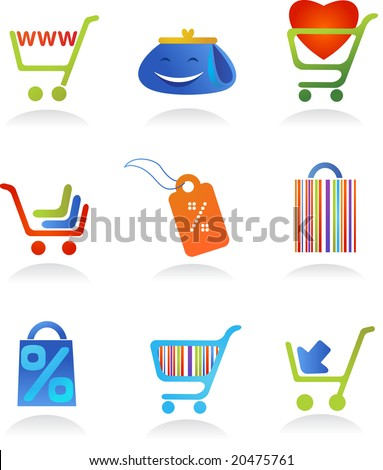 collection of shopping icons - stock vector