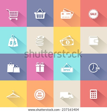 Collection of shopping icons in modern flat design style. - stock vector