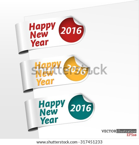 Collection of side bookmarks for the new year 2016. Vector illustration.