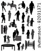 Collection of silhouettes of children - stock vector