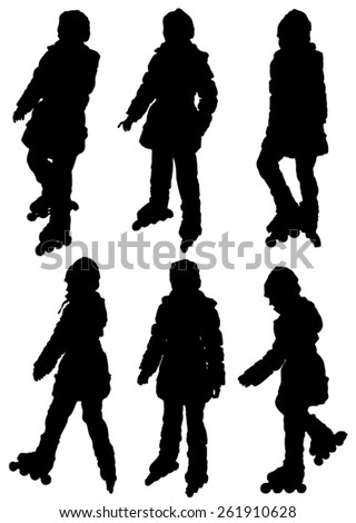 Collection of silhouettes of children on rollers