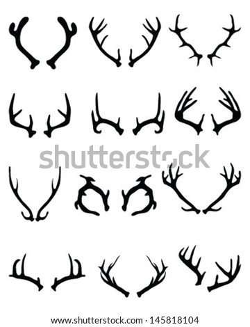 Collection of silhouettes of deer antlers-vector - stock vector