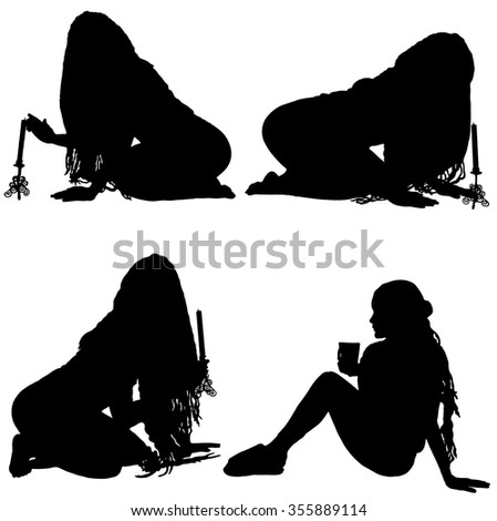 Collection of silhouettes of girl in a headscarf with a candle and cup on white background - stock vector