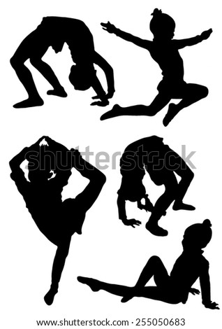 Collection of silhouettes of gymnasts