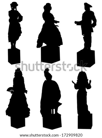 Collection of silhouettes of live statues - stock vector