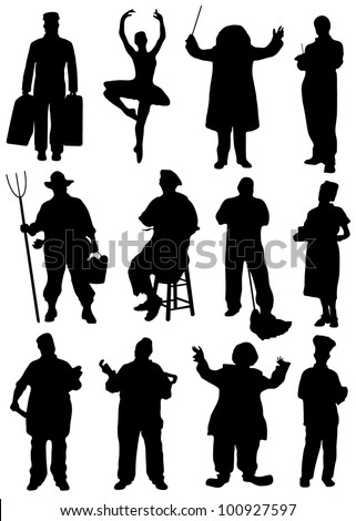 Collection of silhouettes of people of different professions