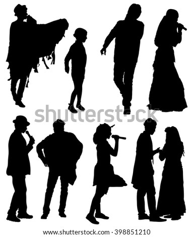 Collection of silhouettes of people on a white background. - stock vector