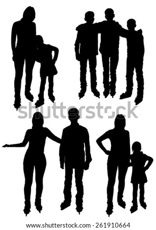 Collection of silhouettes of people  on the skates   - stock vector