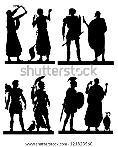 Collection of silhouettes of the Greek soldiers and people