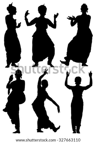 Collection of silhouettes Oriental dances of women