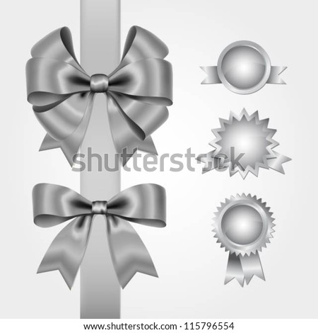 Collection of silver bows and decorations - stock vector